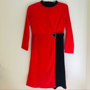 Vintage Red and Black Ladies Wrap Dress With Jewel